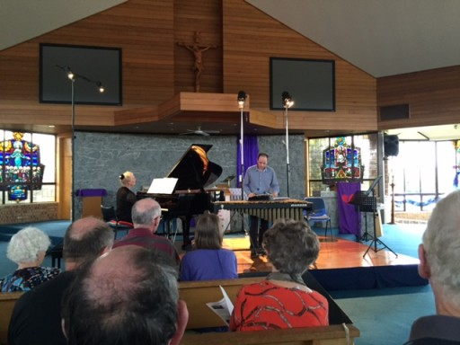 Nick Parnell on the vibraphone, Julie Sargeant on piano