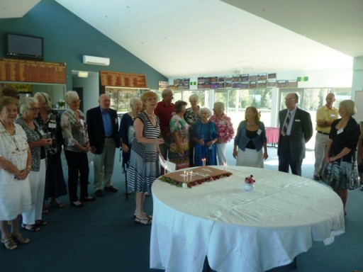 Original members at 20th Birthday Cocktail Party with current President Pam Larkin